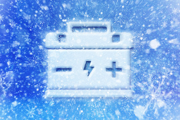 Empty car battery,  battery is discharged during winter freezing, winter car battery problem, car battery symbol with snow