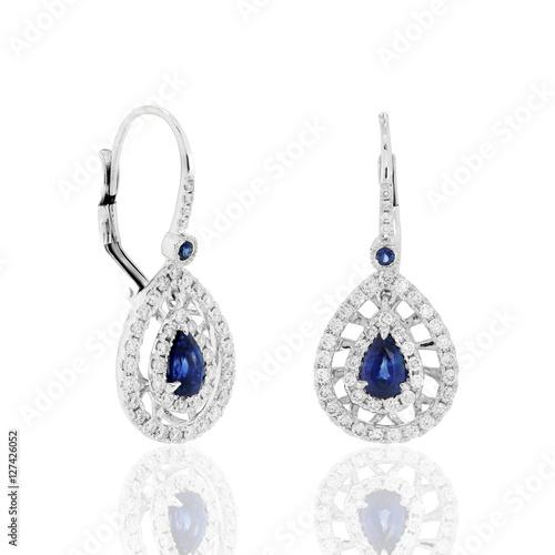 02cad1de6d53 aretes pendientes joyeria en plata oro con diamantes y zafiros azules  Earrings earrings earrings in gold-plated sterling silver with diamonds and  blue ...