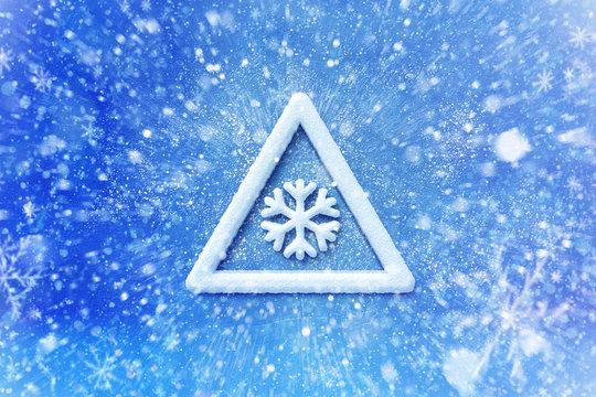 Winter snow warning symbol, snow automotive grahic background, driving winter background