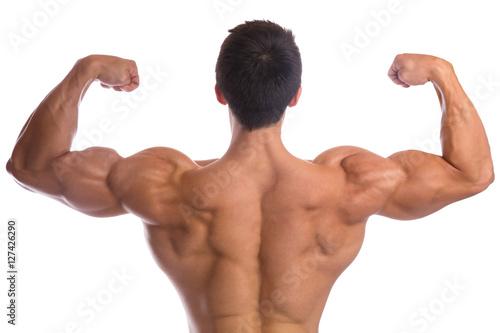Bodybuilder Bodybuilding Muskeln Rücken posen Bizeps Mann stark ...
