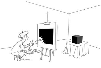 The artist draws a black square