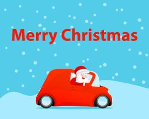 Santa drive car christmas card