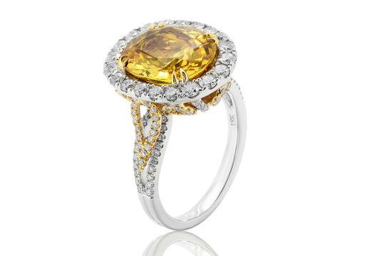 anillo argolla en oro plata y platino con diamante amarillo y diamantes blancos, con citrino y zafiro amarillo   Ring in gold and silver platinum with yellow diamond and white diamonds, with citrine a