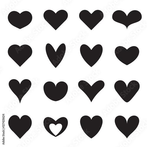 Heart Symbol Shapes Set Of Sixteen Different Symmetrical Templates