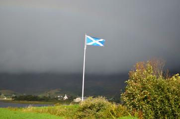 Scottish Flag Flying at Eilean Donan