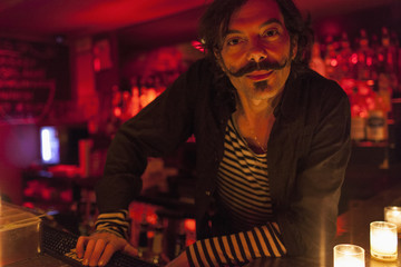 Portrait of a bartender at a nightclub