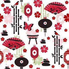 Japanese seamless pattern with traditional elements of culture