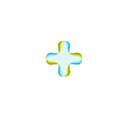 Vector medical cross logo. Hospital logotype. Religious sign. Doctors office emblem. Ambulance label. First aid symbol. Plus button illustration.