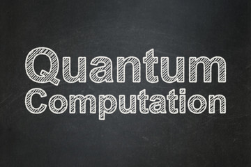 Science concept: Quantum Computation on chalkboard background