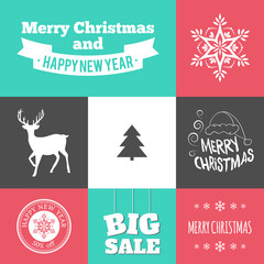 Christmas icons pack. Vector illustration for winter holidays.