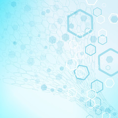 Vector abstract blue background with hexagon shapes and silhouettes.