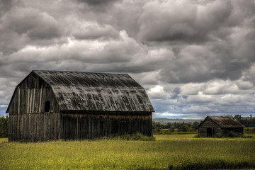 barn under dark skies