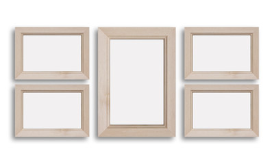 Collage of five blank natural wooden photo frames