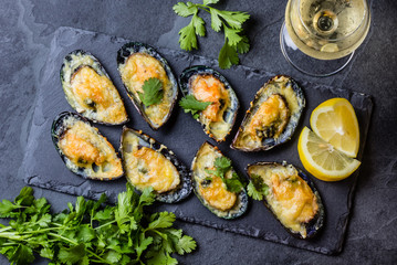 Printed roller blinds Seafoods Seafood. Baked mussels with cheese and lemon in shells