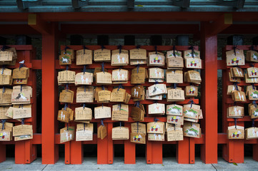 Wood prayer blocks, Fushimi Inari Temple, Kyoto, Japan, East Asia