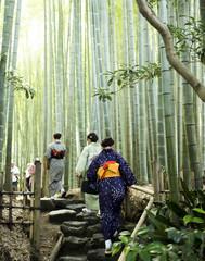 Women in kimonos at bamboo forest, Hokokuji Temple, Kamakura, Kyoto
