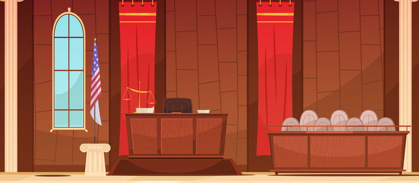Law Justice Courtroom Sitting  Retro Poster