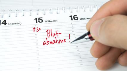 Blutabnahme / Termin im Terminkalender / Terminplaner