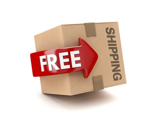 3D free shipping cardboard isolated