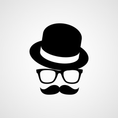 Hat, glasses and mustache. Hipster silhouette. Vector icon