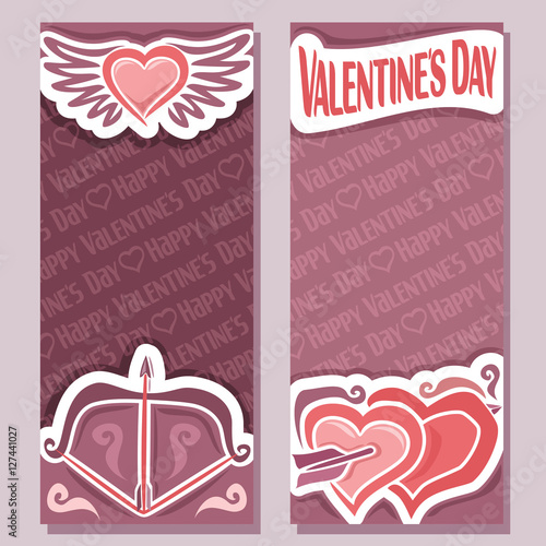 Vector Abstract Banners For Happy Valentine S Day Purple Flyer Bow