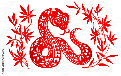 zodiac sign for year of snake the chinese traditional paper cut art