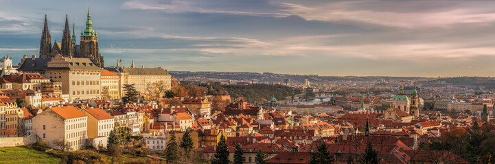 Spoed Fotobehang Praag Prague panorama with Prague Castle, Prague river Vltava and many