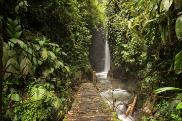 Waterfalls of the tropical rainforest in Mindo, Ecuador