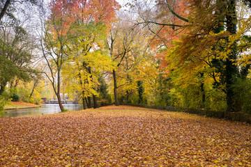 Golden autumn in Minnewater park in Bruges, Belgium