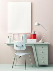 Mock up poster, work office idea, 3d illustration