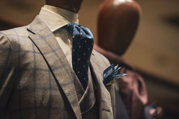 Elegant men clothing in a luxury shop