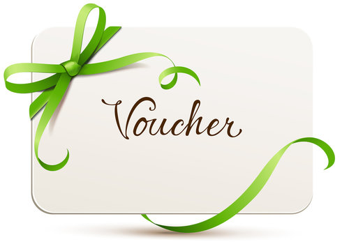 card with green bow - voucher