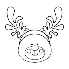 bear wearing reindeer antlers christmas icon image vector illustration design