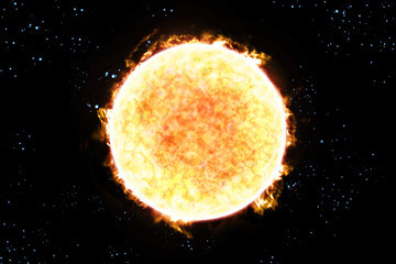 Sun Starscape 3D Illustration