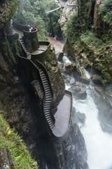 Massive waterfall Pailon del Diablo in Banos Ecuador