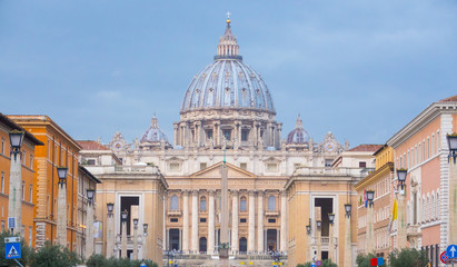 Vatican City in Rome - amazing view over St Peter s Basilica