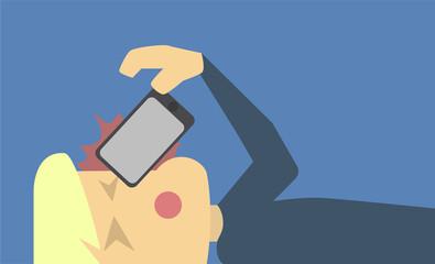 Phone Hit Face Illustration