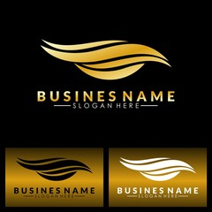 water abstract wave gold logo