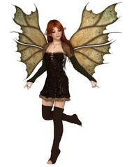 Autumn Fairy with Leafy Wings - fantasy illustration