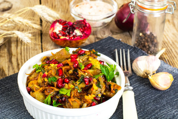 Grilled vegetables with eggplant and pomegranate seeds
