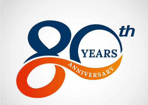 Template logo 80th anniversary years logo.-vector illustration