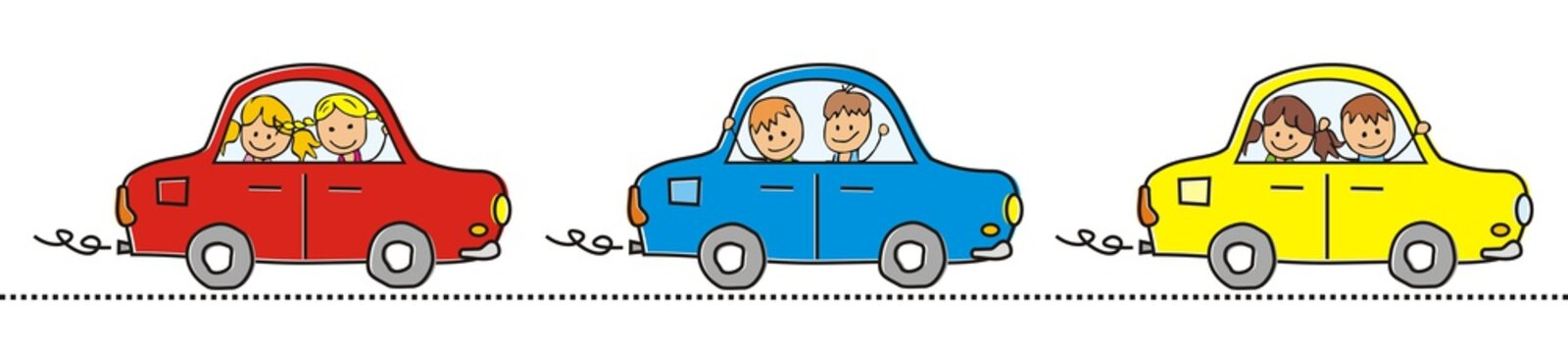 Cars and children. Three different cars with children. Vector icon. Red, blue and yellow car in line.