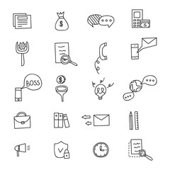 Business Idea doodles icons set. Vector illustration