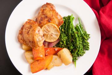roasted chicken thigh dinner