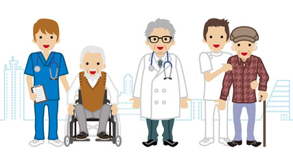 Male Medical Occupation team and elderly men Cityscape background