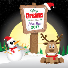 Snowman and Reindeer with wooden sign in winter on night sky background. Merry Christmas and Happy New Year on wooden sign.
