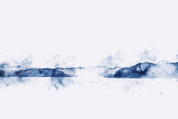 Abstract mountains watercolor painting on white background