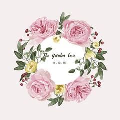 Romantic floral bouquet . Flourish card and circle label .Vector illustration