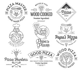 Handmade and wood cooked pizza black on white