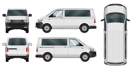 Minivan vector template on white background. Isolated city minibus. All elements in groups on separate layers. The ability to easily change the color.